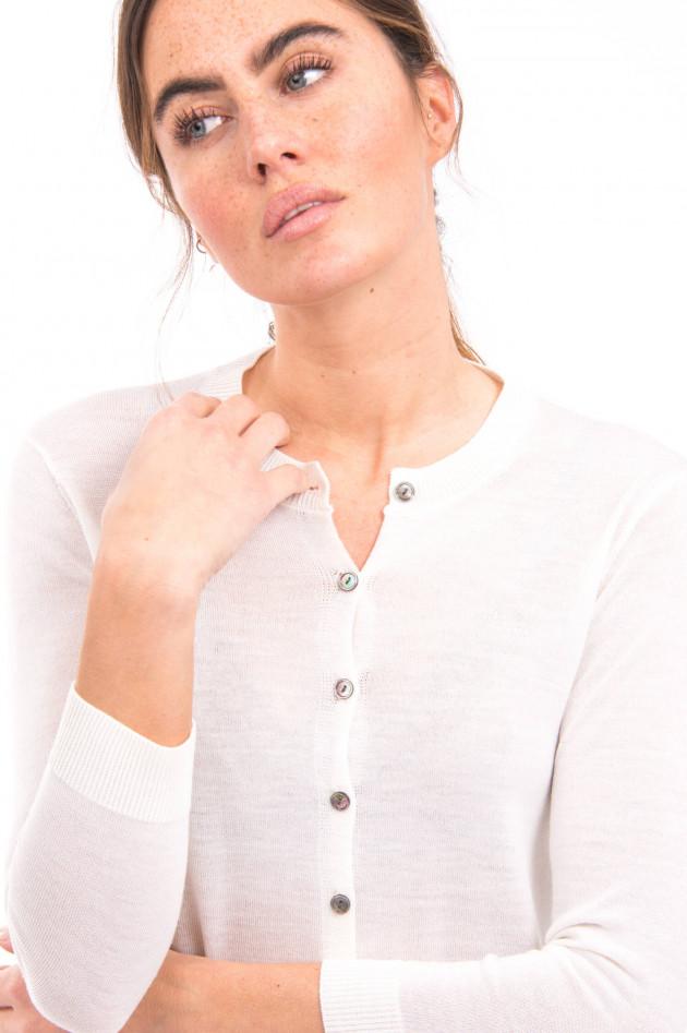 White T Strickjacke aus Merino-Wolle in Weiß