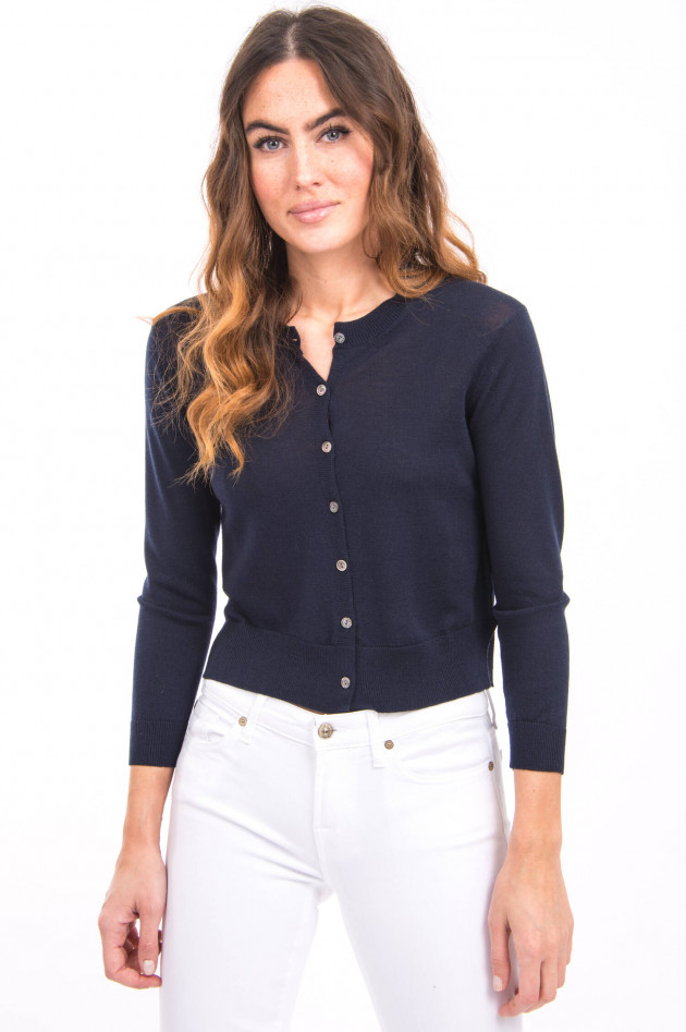 White T Strickjacke aus Merino-Wolle in Navy