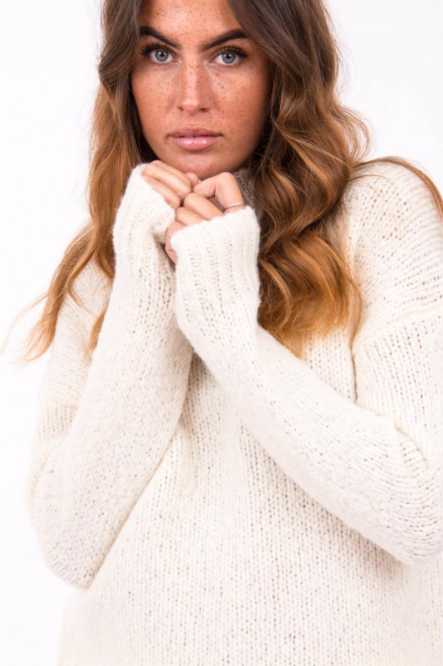 Windsor Pullover mit dezentem Stehkragen in Natur