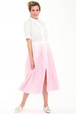Lochstick-Kleid mit Farbverlauf in Weiß/Rosa
