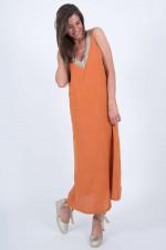 Leinenkleid mit Schmucksteine in Orange