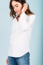 Klassische Bluse mit Stehkragen in Weiß