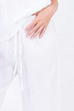 Weite Leinenhose in Weiß