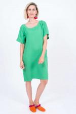 Leinenkleid mit Seitentaschen in Grün