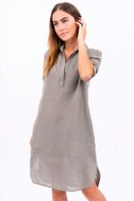 Blusenkleid aus Leinen in Khaki
