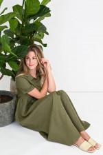 Leinen-Blusenkleid mit Raffung in Oliv