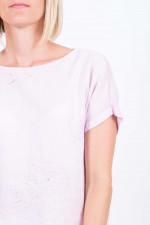 Besticktes Leinenshirt in Rosa