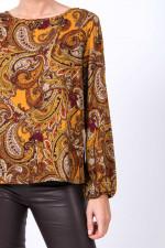 Blusen-Shirt in Orange/Braun gemustert