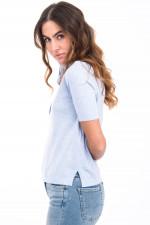 Poloshirt aus Baumwoll-Leinen-Mix in Hellblau