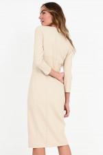 Tailliertes Jersey-Kleid LETO in Beige