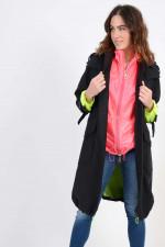 Mantel mit Gilet in Schwarz/Neon