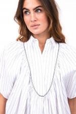 Bluse mit Plastron in Weiß/Schwarz