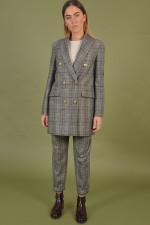 Mantel aus Wolle in Antra/Braun gemustert