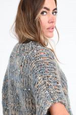 Grobstrick-Pullover mit Pailletten in Grau/Braun