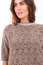 Kurzarm-Pullover aus Lochstrick in Mocca