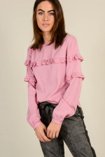 Bluse mit Volants in Rosa