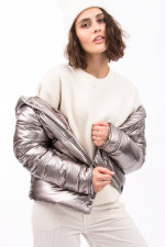Daunensteppjacke in Metallic Silber