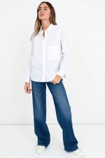 Klassische Baumwoll-Bluse in Weiß