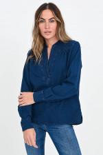 Jeans-Bluse mit Tunika-Ausschnitt in Dunkelblau