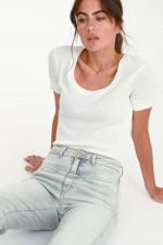 Organic Jeans PEDAL PUSHER in Hellgrau