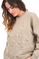 Sweater mit Colour-Splash-Design in Sand