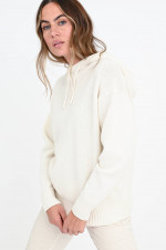Strick-Hoodie aus Wolle in Creme