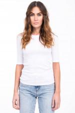 Basic Shirt aus Baumwoll-Mix in Weiß
