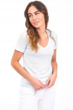 T-Shirt aus 100% Leinen in Hellblau