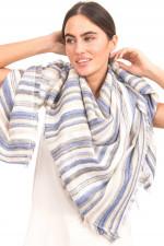 Großes Tuch aus Baumwoll-Leinen-Mix in Weiß/Blau
