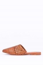 Leder-Slipper in Karamell