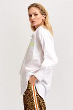 Bluse mit Neonprint in Weiß