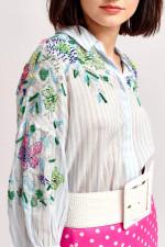 Bluse mit Pailletten-Details in Himmelblau
