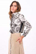 Bluse mit Paisley-Muster in Schwarz/Weiß