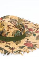 Maxi-Strohhut mit Dschungel-Print in Natur/Grün