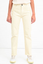 Bestickte Jeans in Creme
