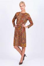 Langarm-Kleid mit Paisley-Print in Rot