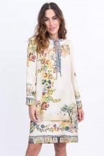Seiden-Kimonokleid in Natur gemustert