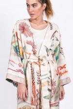 Seiden-Kimono in Natur gemustert