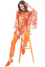 Leichter Poncho aus Seide in Rot/Orange gemustert