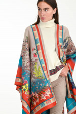 Jaquard-Cape im floralem Design in Sand/Multicolor