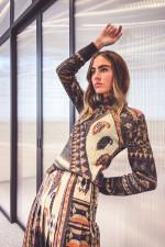 Alpaka-Mix Pullover mit Ehno-Print in Multicolor