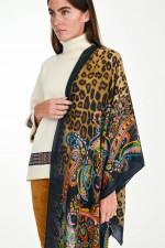 Schal aus Woll-Seiden-Mix in Schwarz/Multicolor