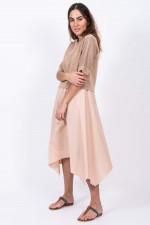 Zweitliges Kleid mit Leinen-Oberteil in Rose/Camel
