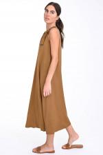 Kleid mit geknöpften Trägern in Goldbraun