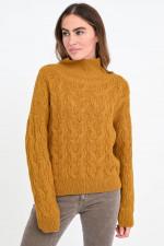 Zopfstrick-Pullover aus Alpaka-Mix in Senfgelb