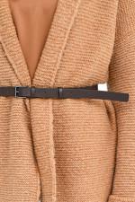 Strickweste aus Alpaka-Mix mit Gürtel in Camel