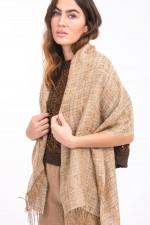 Schal aus Leinen-Seiden-Mix in Camel