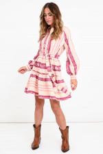 Mini Ethno-Kleid mit Bindegürtel in Rosa