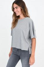 Oversized Baumwoll-Shirt in Grau