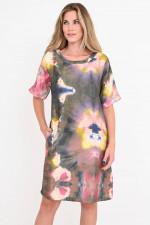 Viskose-Kleid im Batik-Design in Multicolor